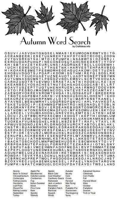 Autumn Word Search Puzzle 400 PRINTABLES Pinterest Free