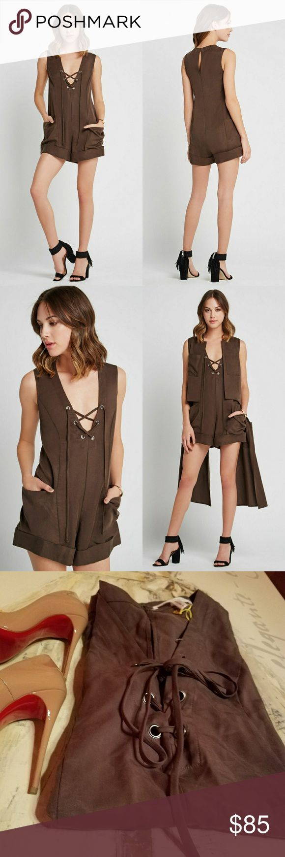 BCBGeneration Women's Lace up Romper 100% Lyocell Lace-up v-neckline Sleeveless Front patch pockets  Never worn, with tags. Purchased at Lord & Taylor, never tried on. Vest on Pic 2 also available for sale, bundle for savings! BCBGeneration Pants Jumpsuits & Rompers