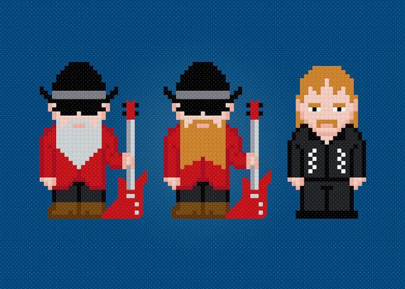 ZZ Top Rock Band Digital PDF Cross Stitch by AmazingCrossStitch