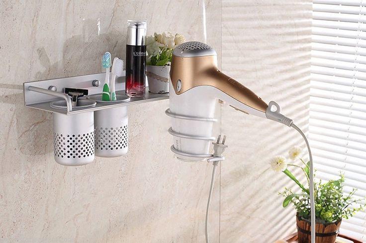 Dual Cup Wall Mounted Hair Dryer Shelf Bathroom Storage Holder Organizer Hanger | eBay