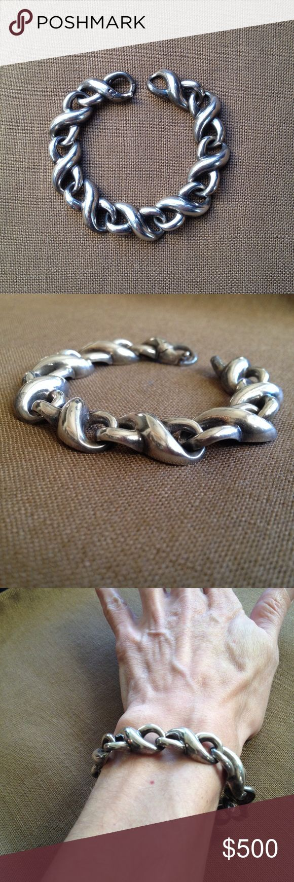 """Vintage Sterling Silver Krypell Bracelet 1970's, Charles Krypell, modernist, chain link bracelet in Sterling Silver. Mod and sculptural design featuring big and beautifully crafted infinity swirls. Rare piece, tremendous really because it reflects the designer's roots as a sculptor from Pratt in NY. Please note this is a vintage piece in pre-loved condition showing some very minor surface wear. Very cool   clasp works perfectly. 32g. 7&1/4"""" long. Each link appx 1"""" X 1/2"""". Stamped with…"""