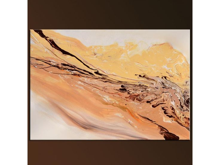 """Softly Blow, abstract modern art, liquid fluid paint MODERN ORIGINAL PAINTINGS. beige, brown, pastel colors Abstract 48"""" x 24"""""""