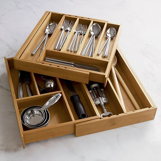 Expandable Bamboo Gadget Trays in Top Kitchen Storage | Crate and Barrel