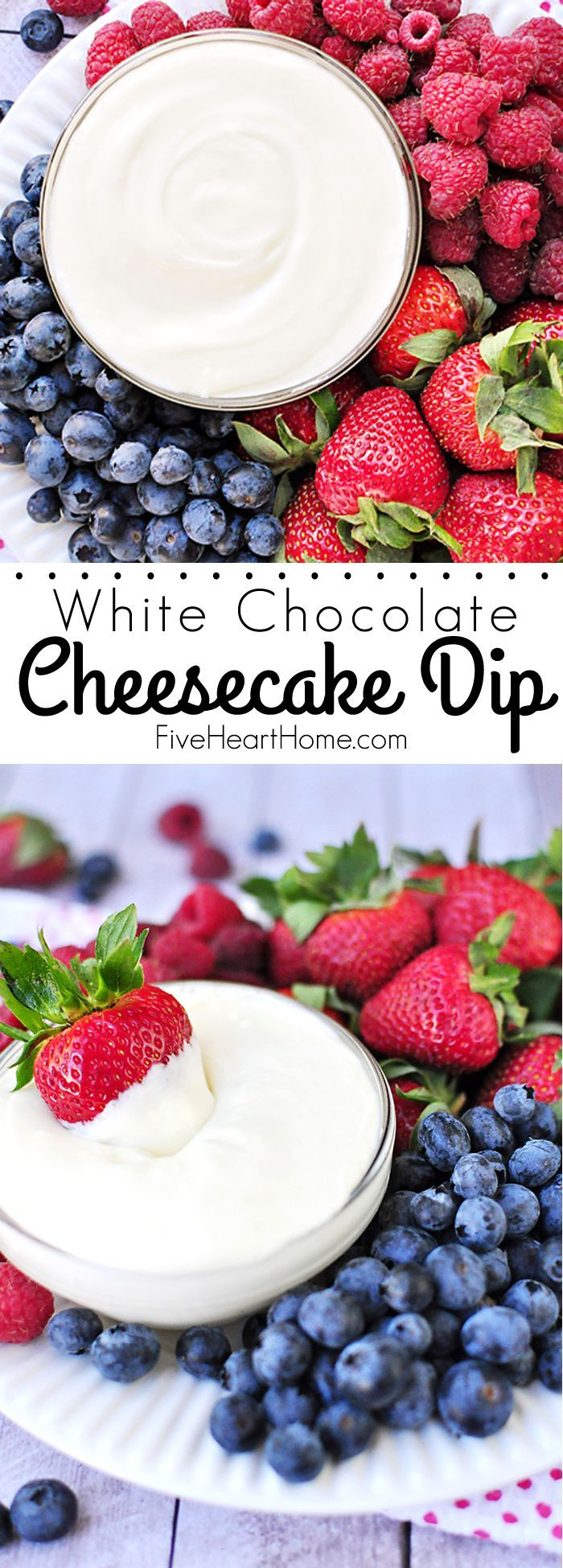 White Chocolate Cheesecake Fruit Dip ~ quick to make and quicker to disappear, this will become your new favorite fruit dip! | FiveHeartHome.com (Chocolate Cheesecake Frosting)