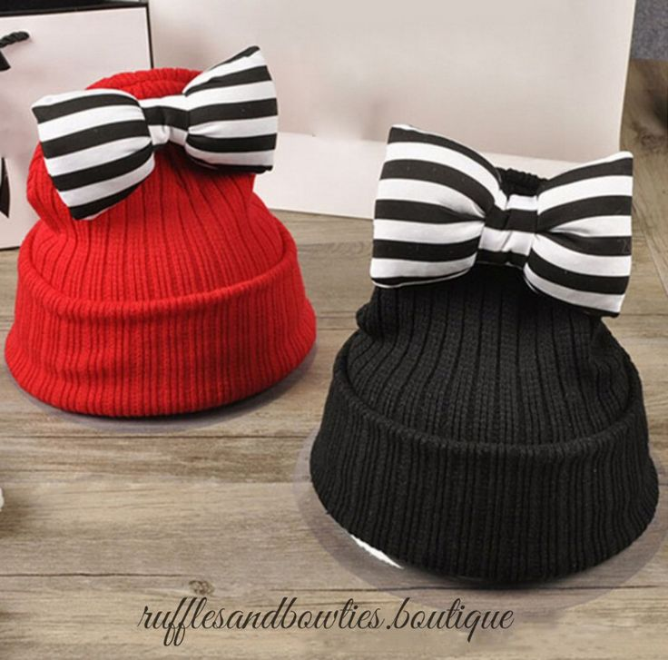Pre-Order - Red or Black Big Strip Bow Beanie Fall Winter Hat - Kids Winter Hats - Baby Girl Bow Hat - Baby Red Hat