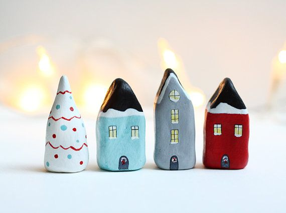 Christmas little clay houses