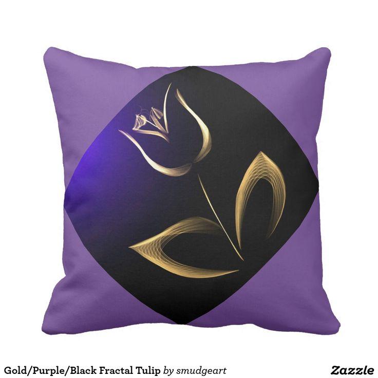 Gold/Purple/Black Fractal Tulip Throw Pillow