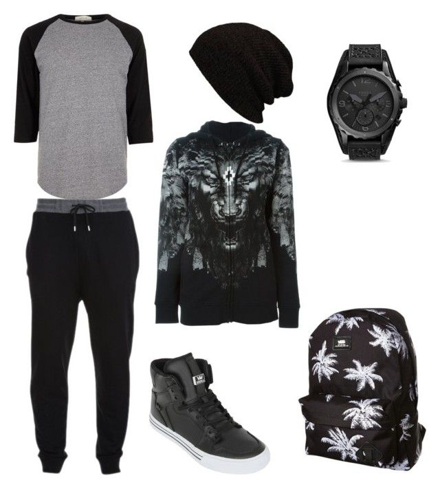"""Swag outfit"" by beccafees on Polyvore featuring McQ by Alexander McQueen, River Island, Supra, County Of Milan, FOSSIL, Vans, men's fashion and menswear"