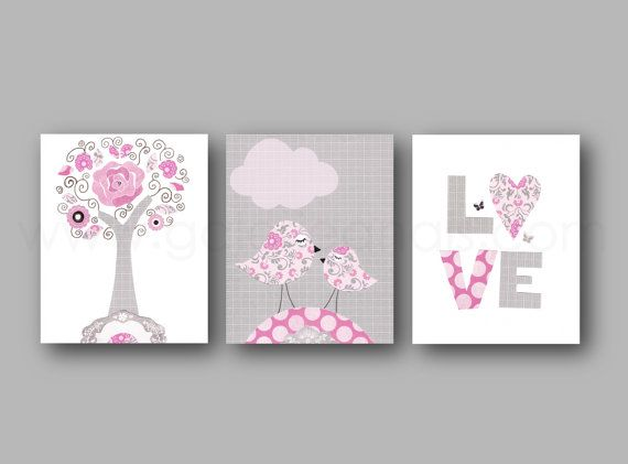 Nursery art print baby nursery nursery art decor Kids art pink gray children wall art bird love Tree Set of three prints on Etsy, $42.00