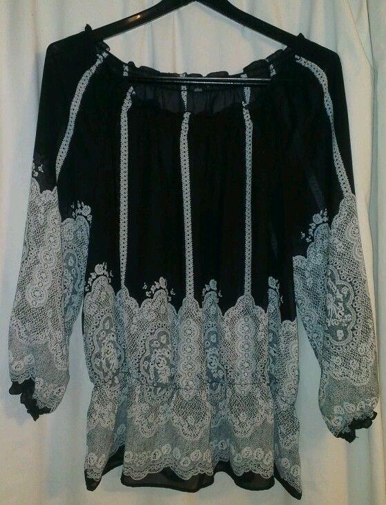 95dc8fe3c30e99 NOTATIONS Size Large Peplum Top Black & White Semi Sheer 3/4 sleeve Blouse  | eBay