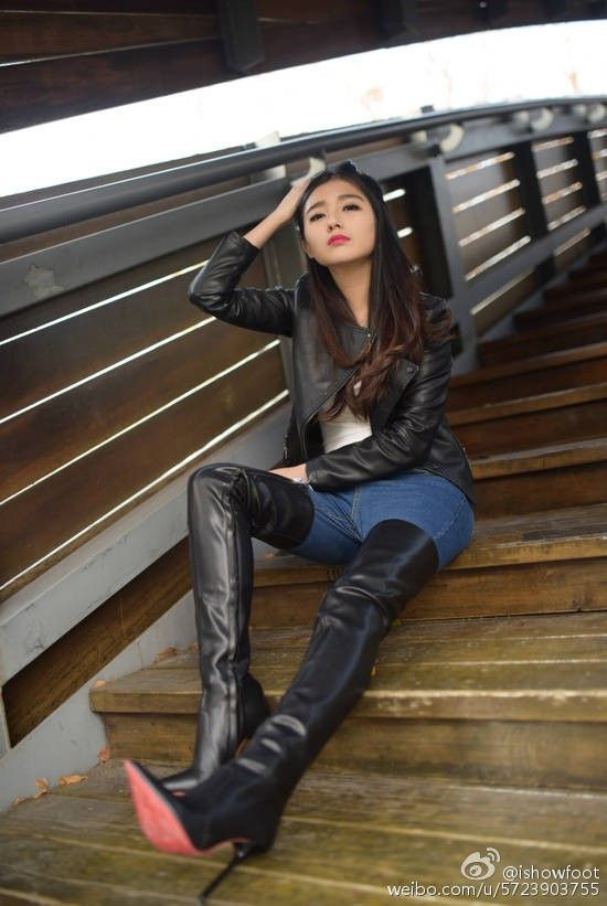 Asian girls in high boots