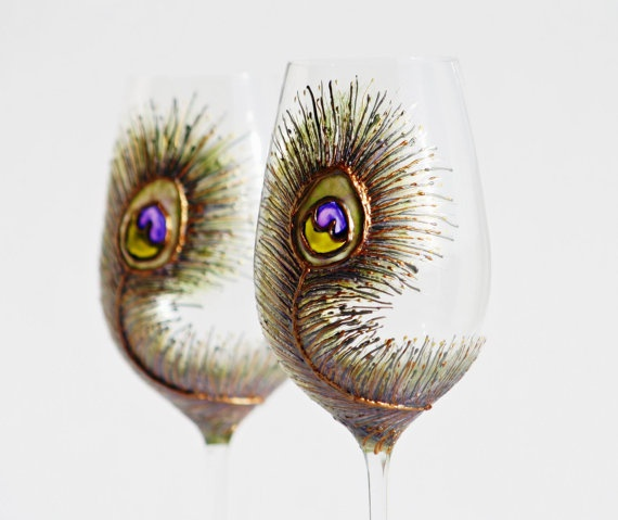 Peacock Wine Glasses Hand Painted CopperOlive by NevenaArtGlass, $49.80