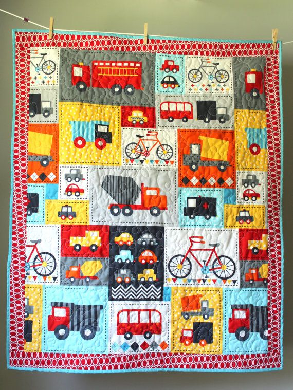 Truck Quilt- Transportation Quilt- Boy Quilt-Trucks, Bikes, Cars- Boy Toddler Quilt- Truck Bedding-Transportation theme- Homemade Baby Quilt