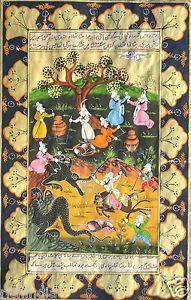 Malarstwo miniaturowe perski Liść starej książki Artwork Turcja Antique Picker Persian painting online artwork