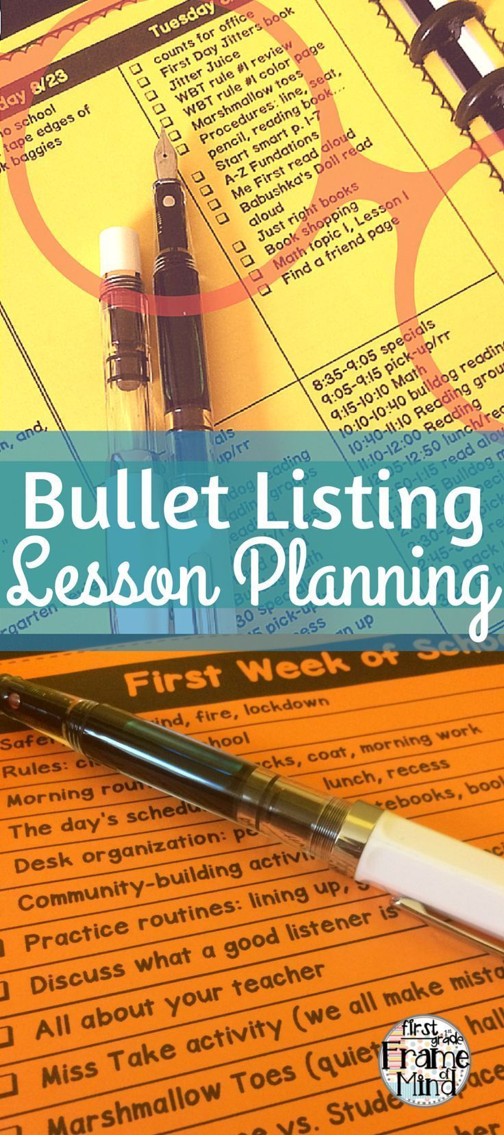 I've been bullet listing lesson planning since 2014 and I'll never go back! I love how I can have a list of things I need to teach throughout the day. I don't spend Sunday night at home planning by myself anymore, because my team enjoys doing it too! We plan together during the week, so we can all have our weekends to ourselves!
