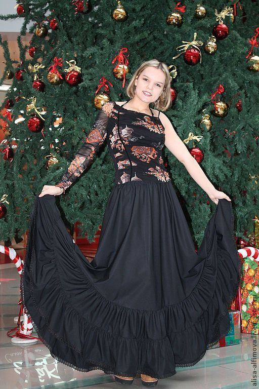 """Купить Пышная юбка трехъярусная в пол """"Темная ночь"""" - черный, однотонный, пышная юбка"""
