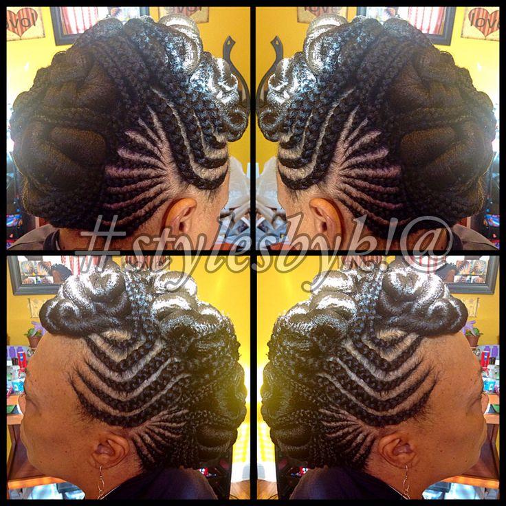 Ghana Cornrow braid mohawk with twists using xpressions bracing hair. Braid updo