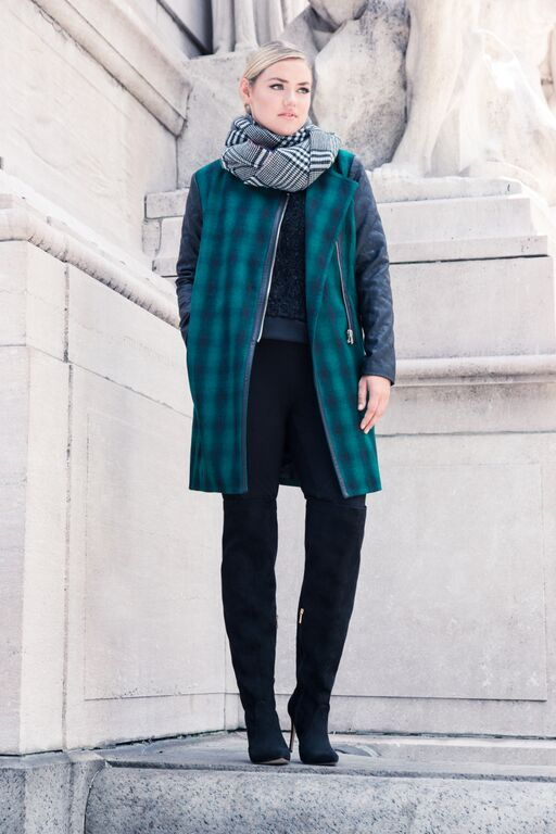 Studio Plaid Faux Leather Sleeve Coat | Women's Plus Size Coats + Jackets