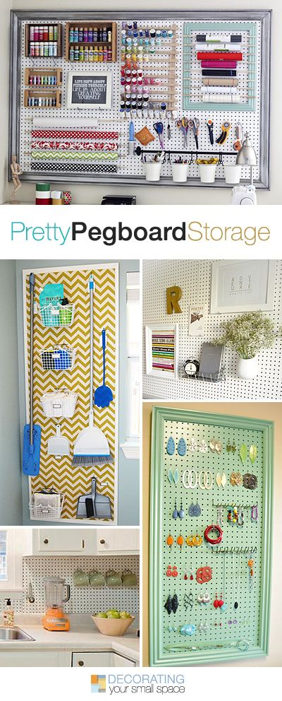 Pretty Pegboard Storage! • Ideas & Tutorials! Maybe one of these pegboards inside a cleaning closet!