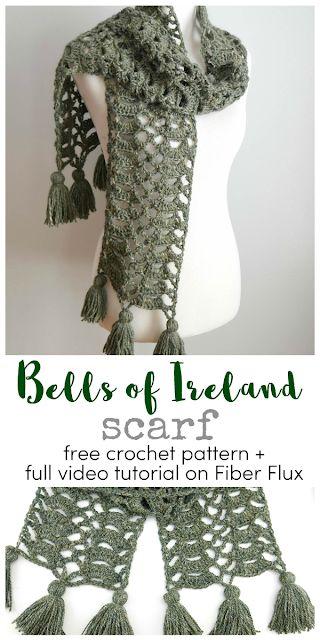 Bells of Ireland Scarf, Free Crochet Pattern + Video