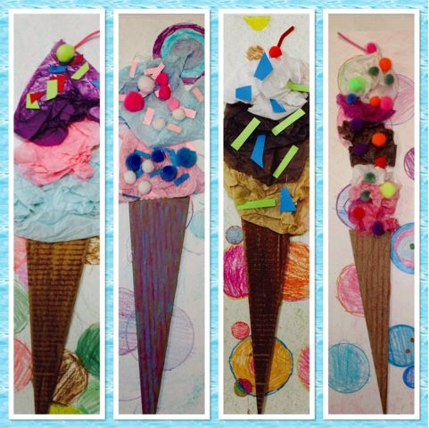 Mixed Media Ice Cream Cones #3rd Grade Kim & Karen: 2 Soul Sisters (Art Education Blog): Ice Cream, Tom Hanks, and Shimmy, Shimmy Ko Ko Pop