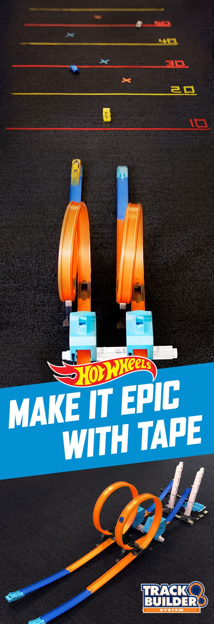 Tape takes any Hot Wheels stunt to the next level. Stick a few pieces to the floor for a DIY competition to find out who can jump the furthest. Get your kids' creativity started with a Track Builder Power Booster Kit here.