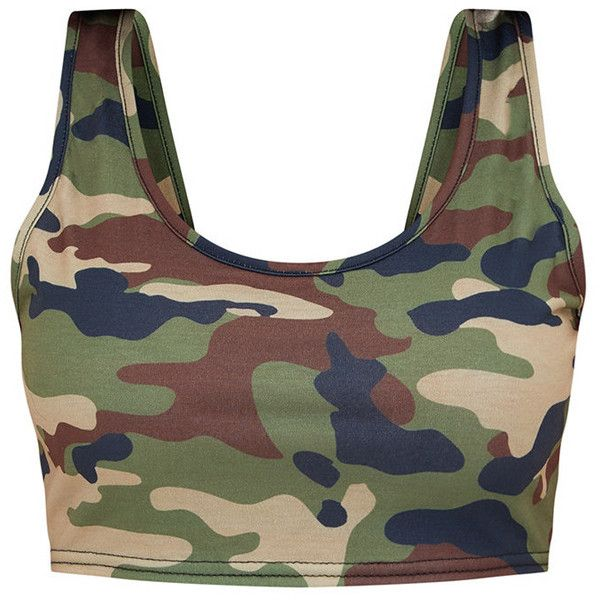 Shape Camo Crop Top ($12) ❤ liked on Polyvore featuring tops, camo top, camouflage crop tops, camo print top, crop tops and cut-out crop tops