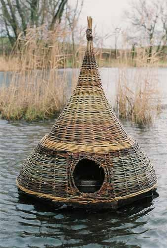 duck house  I would build a pond just to have one of these floating in it.