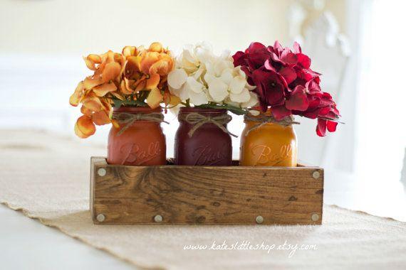 Jardinera rústica caja con 3 frascos de albañil por KatesLittleShop