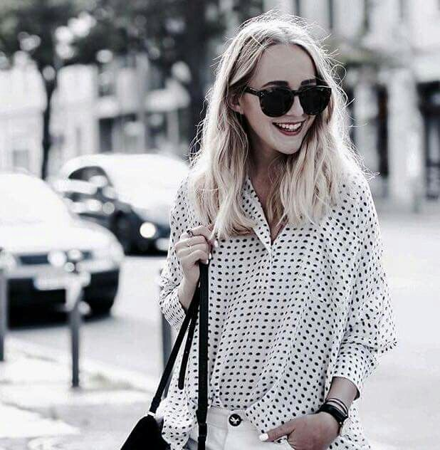 Polka dot shirt - fashion blogger style.
