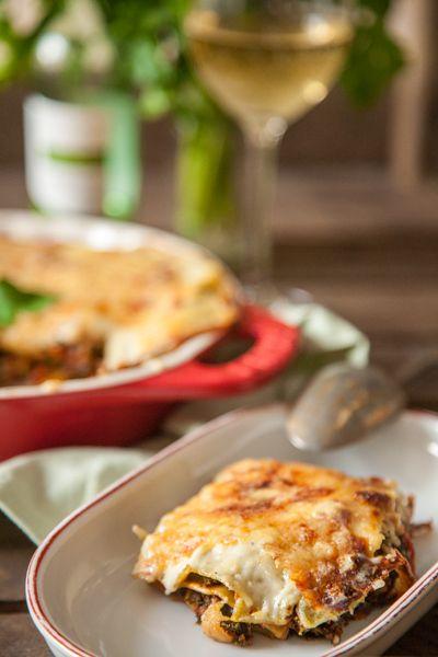 Lasagne mit Grünkohl und Steinpilzen