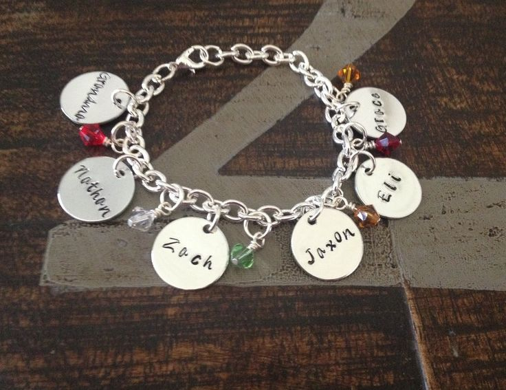 Personalized Charm Bracelet Grandma Grandchild Handstamped Jewelry Birthstone Mom Gift