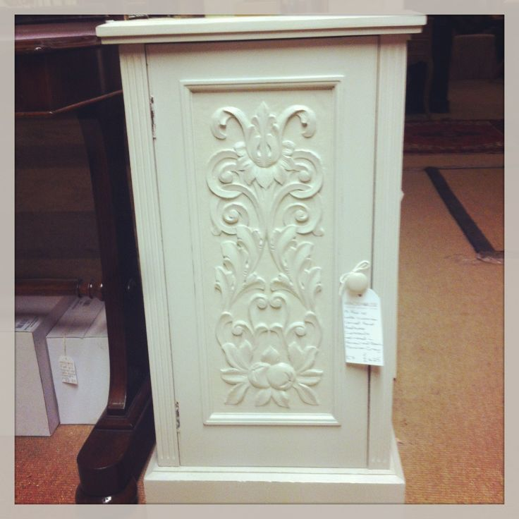Upcycled bedside cabinet with lovely engraved frontage. Pair available.