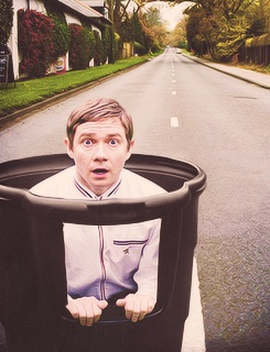Martin Freeman. In a garbage bin. For no reason at all.