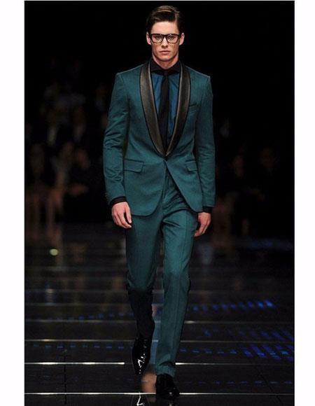 3ce47804c2d Alberto Nardoni Olive ~ Dark Green Shawl Collar Wool Tuxedo Vested 3PC Suit  Black Lapel