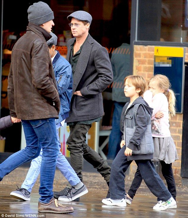 Doing something special for mummy! Brad Pitt was seen with three of his children - Maddox, Knox and Vivienne - heading to a plate painting workshop on Saturday, ahead of Mothering Sunday
