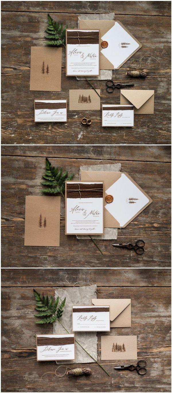 Rustic kraft paper winter wedding invitations / http://www.deerpearlflowers.com/wedding-invitations-from-4lovepolkadots/2/