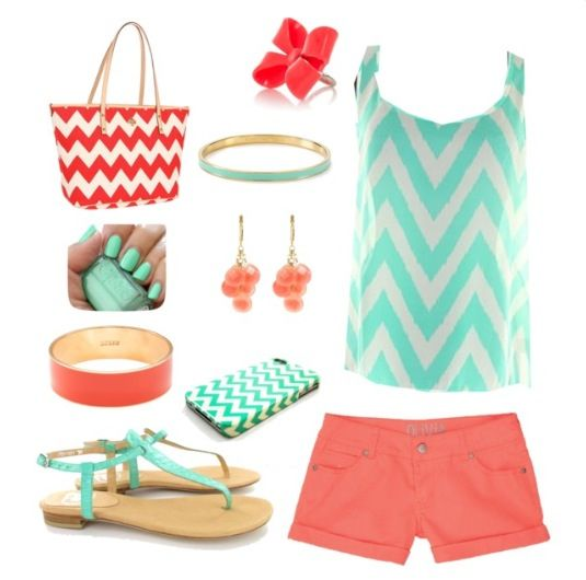 Love mint and coral together! Especially in chevron! Actually want to use these colors with gray walls in my master bedroom!