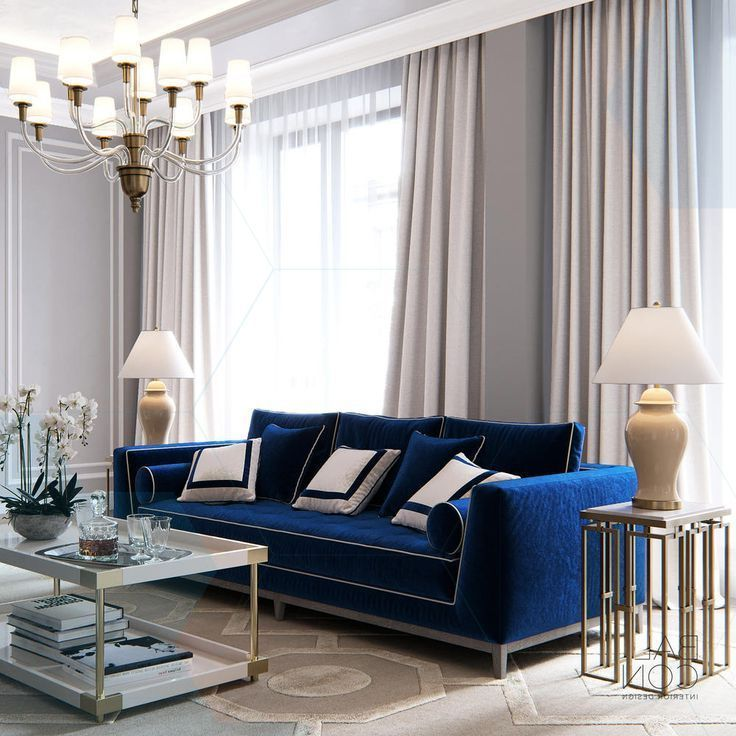 Balcon Luxurious Elegant And Exquisite Front Room With Royal Blue Sof Blue Living Room Decor Blue Living Room Sets Blue Sofas Living Room