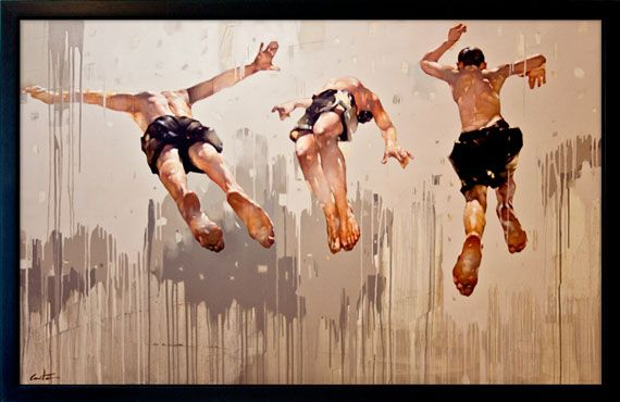 """Jump. Brothers  Oil on canves. 60""""x 96"""" (152cm x 244cm) - Costa Dvorezky"""