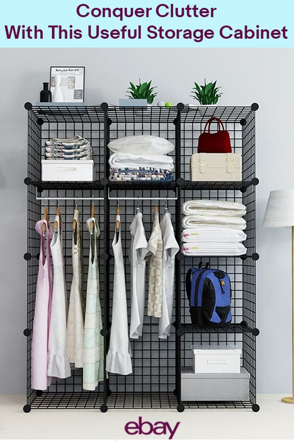 This wire grid storage cabinet is pretty amazing; the storage cubes interlock so you can build this in multiple stacking options for the solution you need most. Perfect for books, movies, clothes and more, you'll be able to show clutter who's boss. Find all your organization solutions on eBay.
