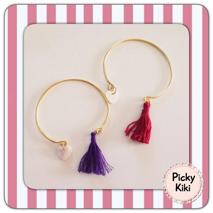 Handmade bracelets with golden rods, a heart from ivory and a decorative tassel in many colors | Fall-Winter Collection 2015-'16 | Picky Kiki