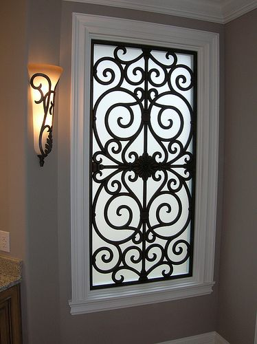 Faux Wrought Iron - Bathroom Window Insert. | Flickr - Photo Sharing!