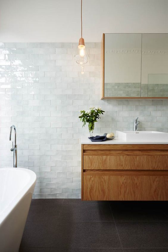 arkee creative interior design, private residence bathroom in melbournes inner north. Subway tiles + oak timber + marble + copper pendants
