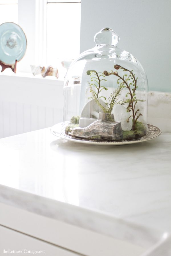cloche bathroom | marble countertop | the lettered cottage