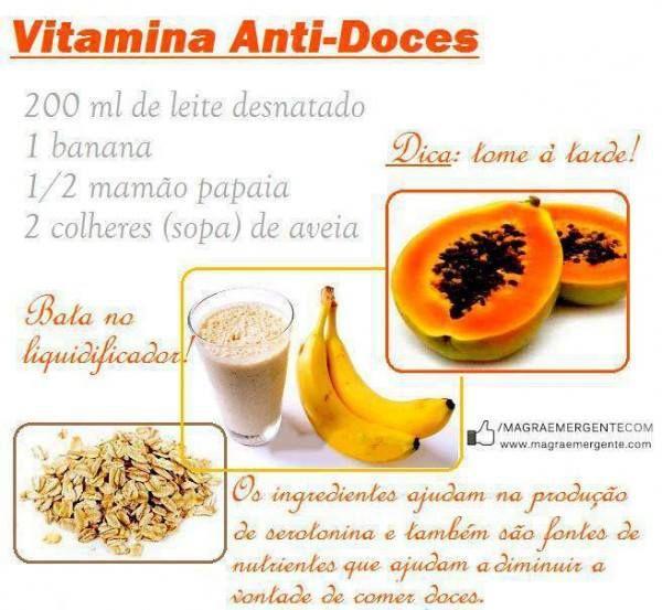 Vitamina para controle da ansiedade pelo doce.
