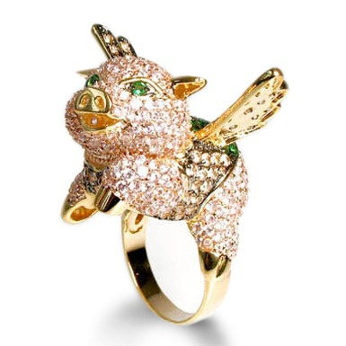 942 best pigs images on pinterest pigs flying pig and little pigs fig the flying pig cubic zirconia encrusted flying pig ring by noir aloadofball Images
