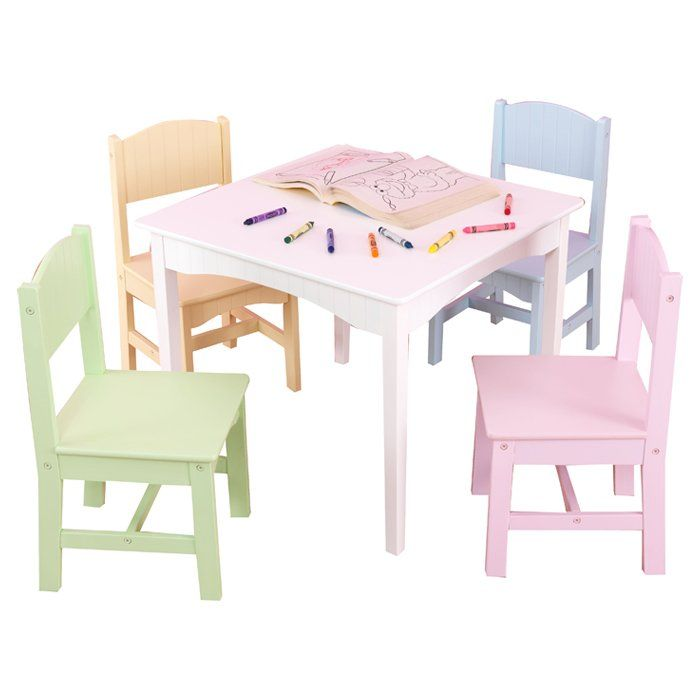 Decorative yet functional, the KidKraft Nantucket Kids' 5 Piece Table and Chair Set is a great choice for your home. This table and chair set includes a square-shaped table and four chairs. It features wooden construction which ensures years of reliable use. This table can be placed in a child's room as a study table. It has a seating capacity for four kids. The Nantucket Kids' 5 Piece Table and Chair Set by KidKraft is non-toxic and safe for your kids. Wipe this table with a clean an...