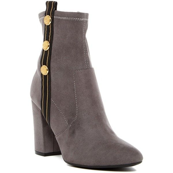 Tommy Hilfiger Drexel Ankle Boot (€59) ❤ liked on Polyvore featuring shoes, boots, ankle booties, gray multi fabric, block heel bootie, grey ankle booties, grey boots, block heel ankle boots and tommy hilfiger boots