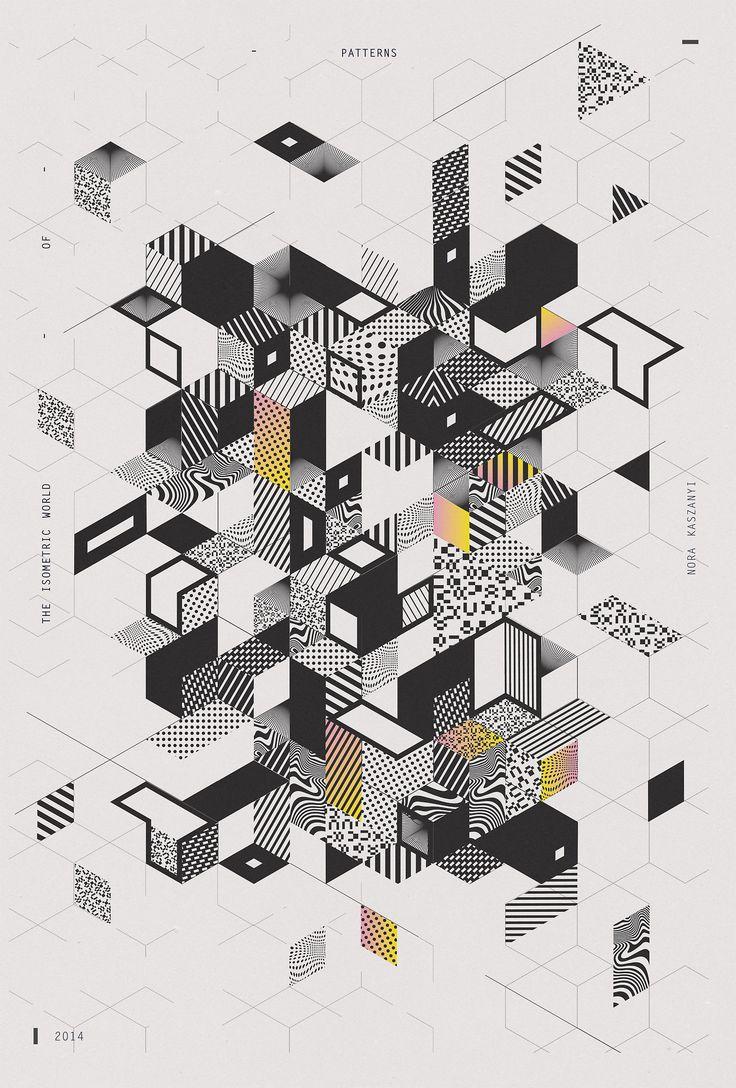 I S O M E T R I C   W O R L D   O F   P A T T E R N S  40x60 cm  by Nora Kaszanyi  #poster
